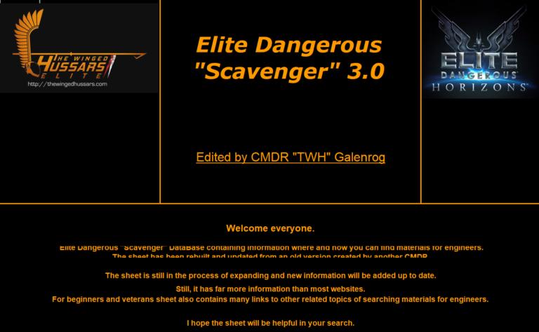 """Elite Dangerous """"Scavenger"""" DataBase"""